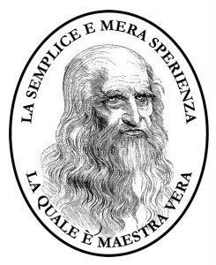 """Il logotipo della nostra Casa Editrice, rappresentante il volto di Leonardo da Vinci col motto """"La semplice e mera esperienza la quale è maestra vera""""."""